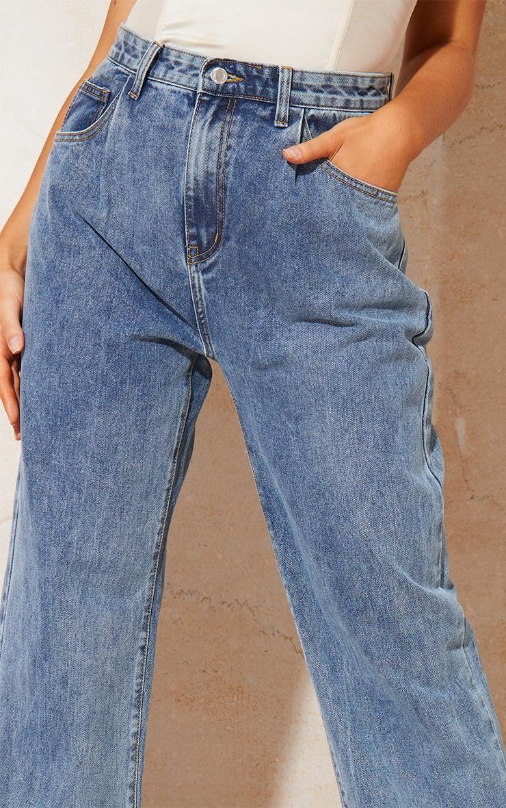 Vintage Wash Seam Pocket Detail Mom Jeans 4