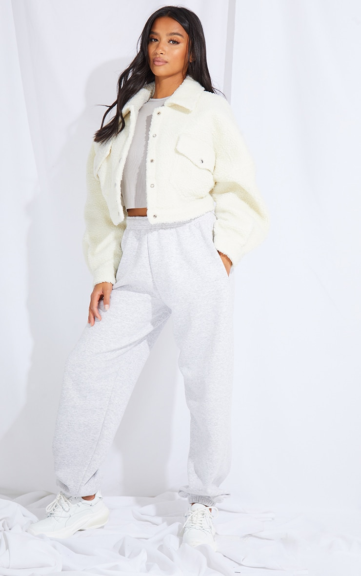 Petite Cream Borg Cropped Trucker Jacket 3