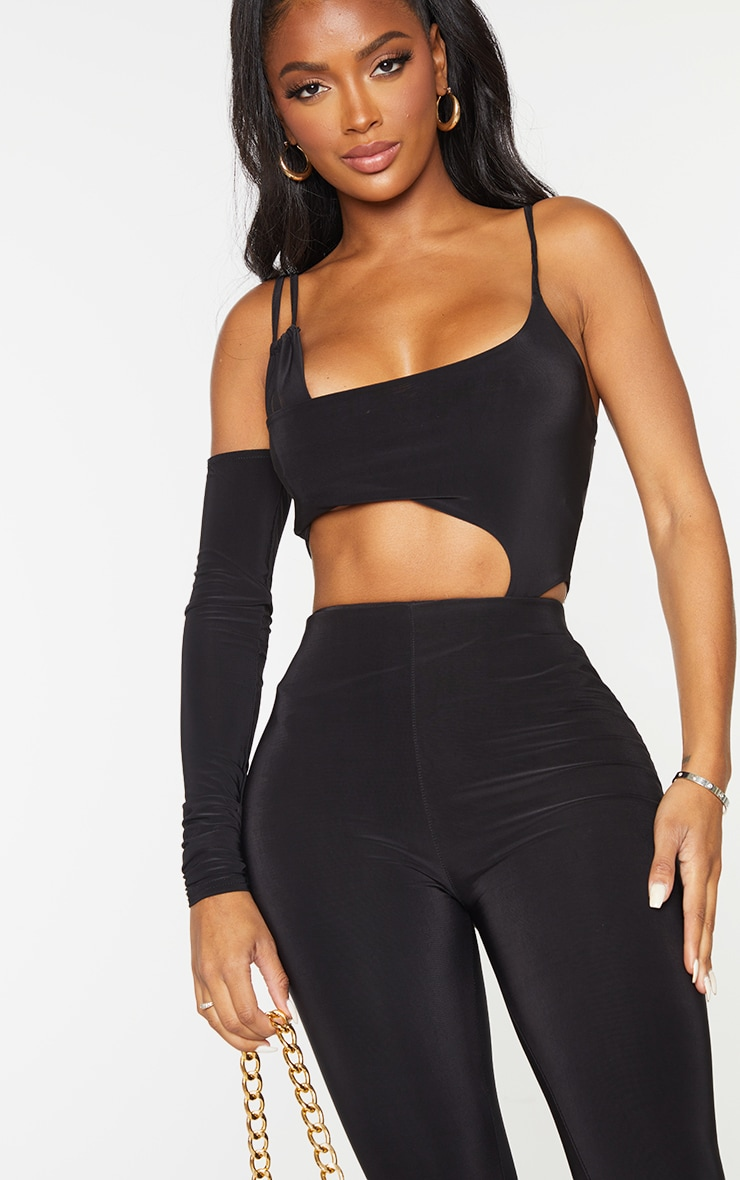 Shape Black Slinky Asymmetric Detail Cut Out Bodysuit 4