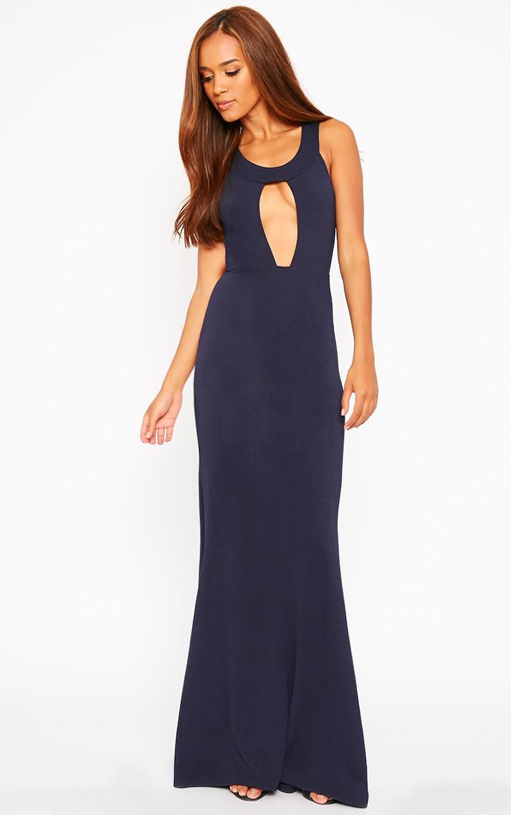 Brandy Navy Plunge Maxi Dress 3