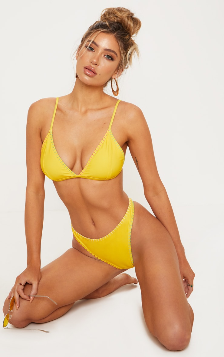 Yellow Stitched Edge Bikini Bottom 1