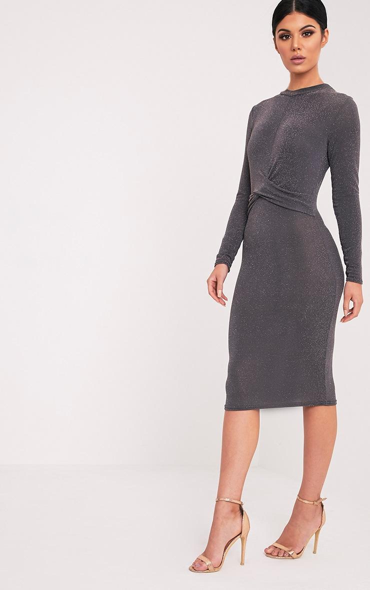 Naeva Grey Lurex Twist Front Midi Dress 4