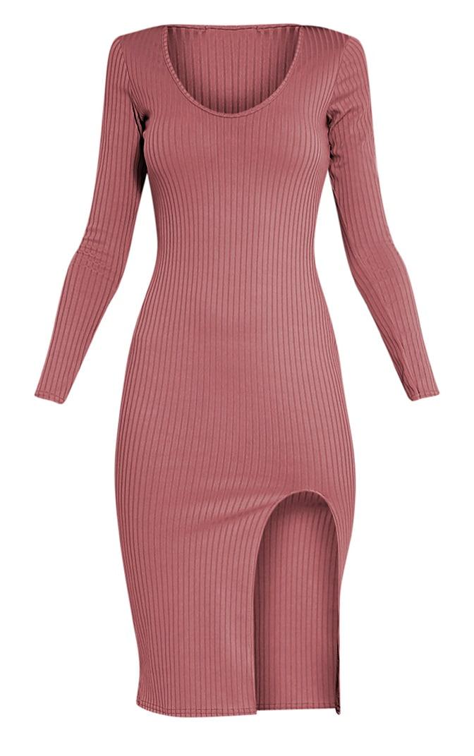 Meelia Rose Plunge Neck Ribbed Midi Dress 3