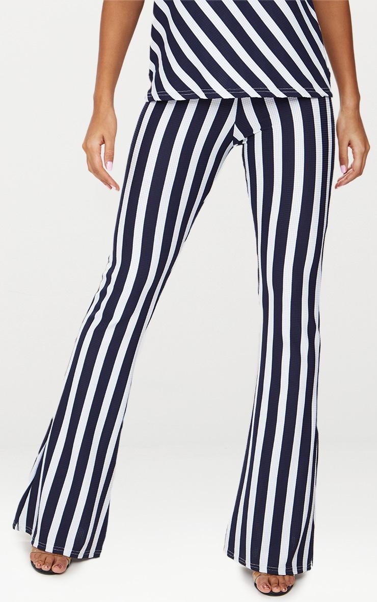 Navy Vertical Stripe Flare Trouser  2