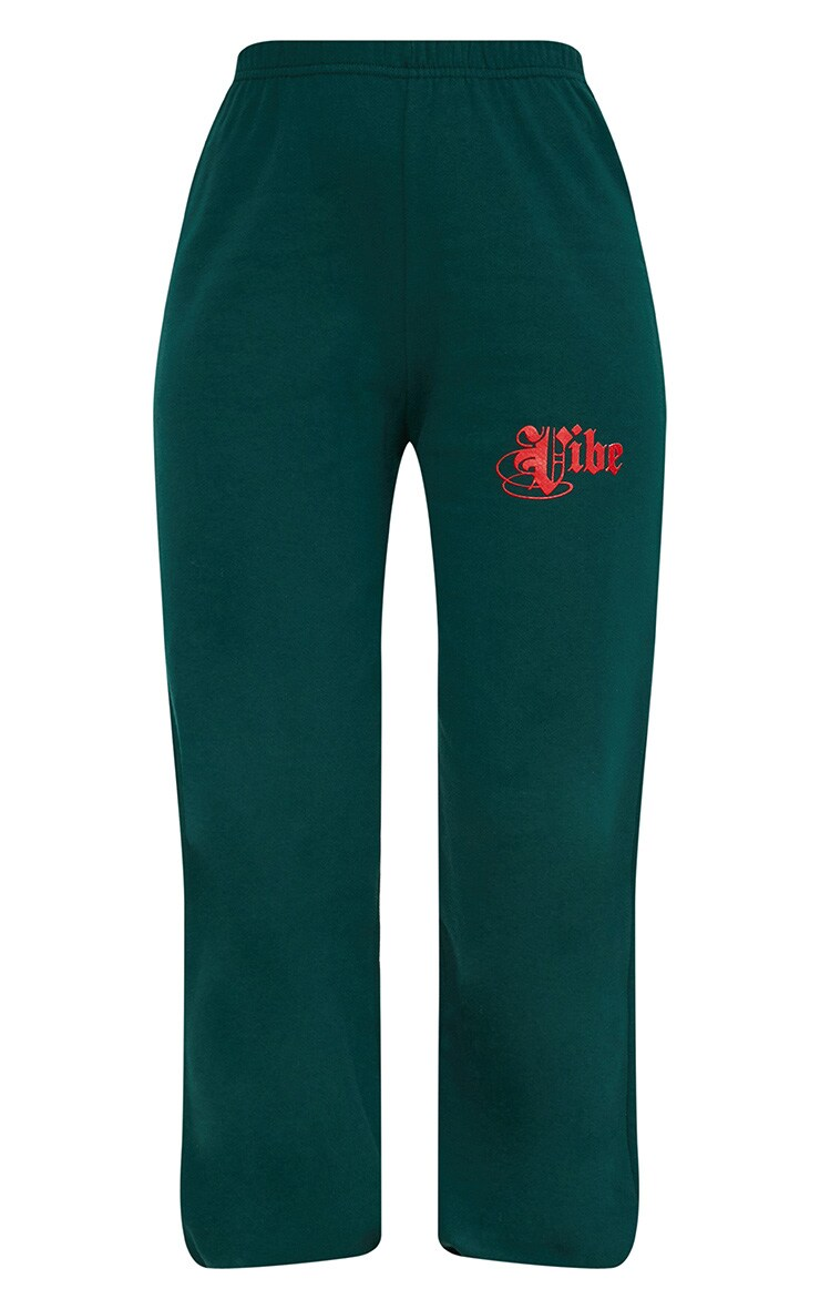 Emerald Green Vibe Slogan Piped Joggers 3