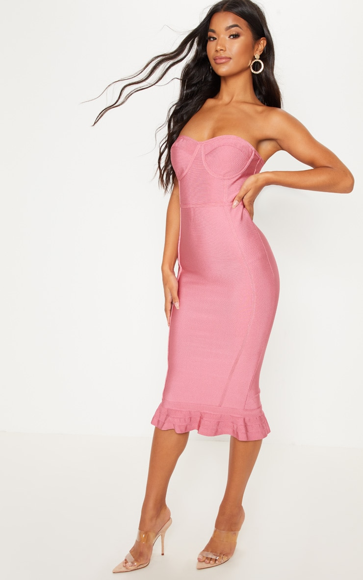 Rose Frill Hem Bandage Midi Dress 4