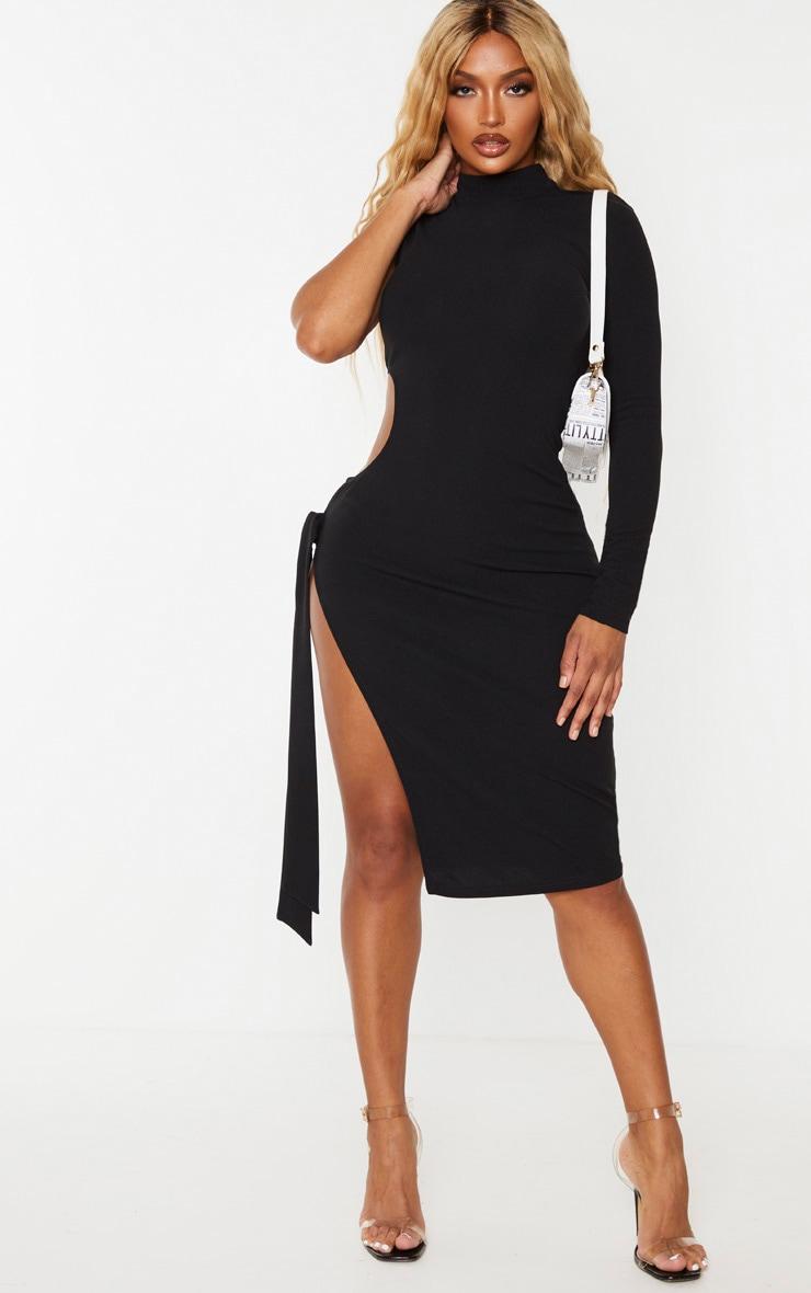 Shape - Robe mi-longue noire découpée à manche unique et lien sur le côté 3