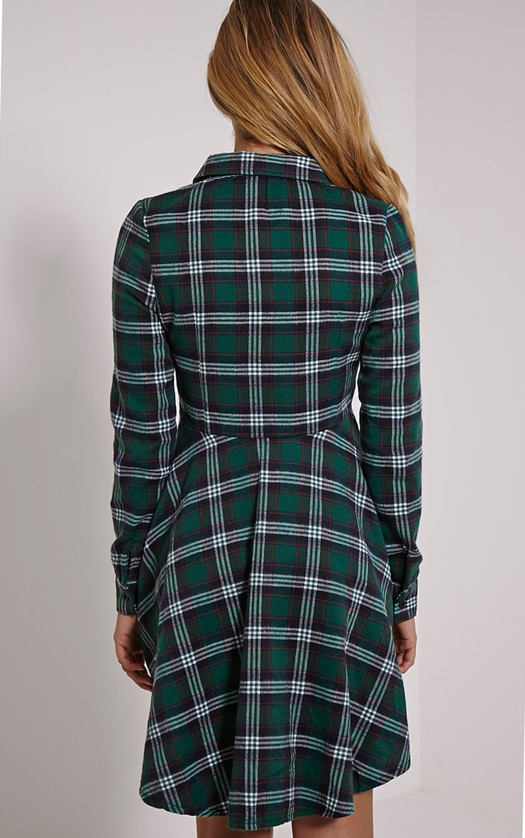 Bobbi Green Checked Skater Shirt Dress 2