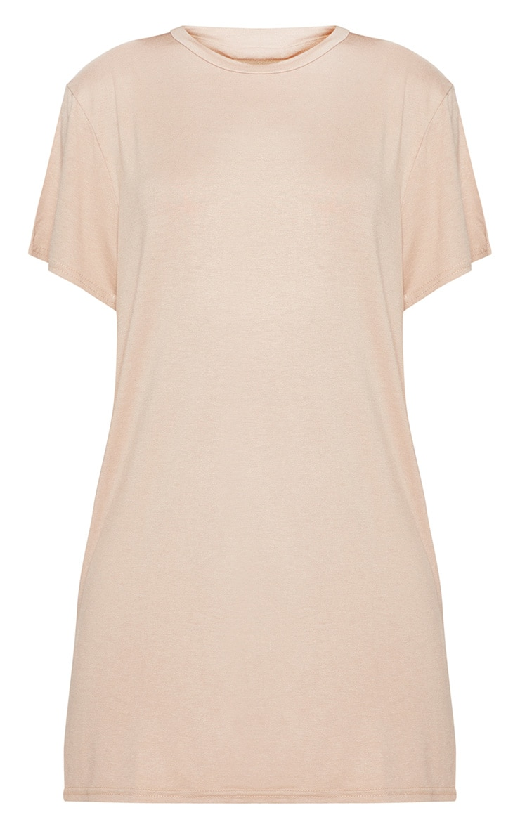 Basic Nude Short Sleeve T Shirt Dress 3