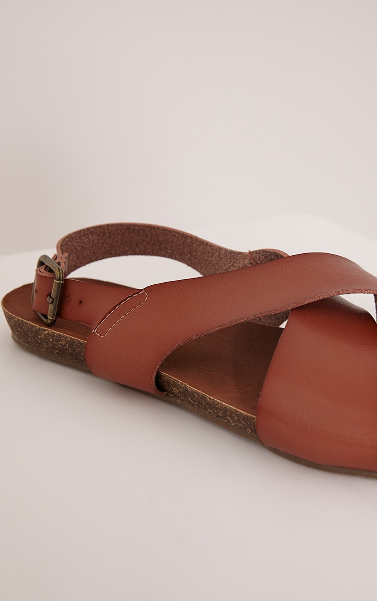 Nia Tan Faux Leather Cross Over Sandals 5