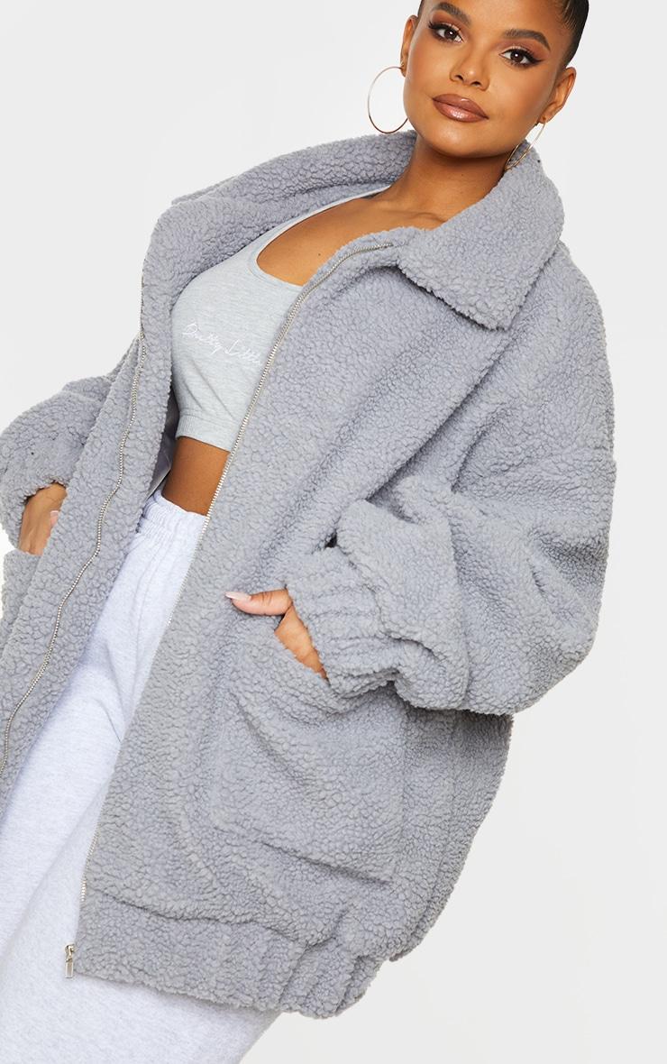 Plus Grey Oversized Borg Pocket Front Coat 4