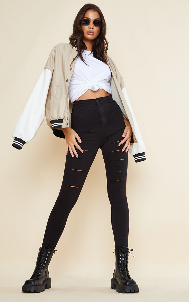 PRETTYLITTLETHING Tall Black Rip Ripped Disco Skinny Jeans 1