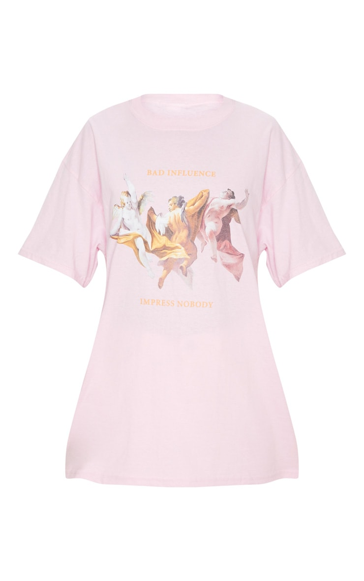 Baby Pink Bad Influence Cherub T Shirt 5