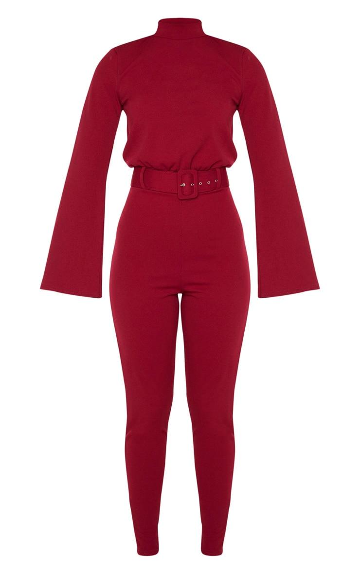 Burgundy Belt Detail High Neck Long Sleeve Jumpsuit 3