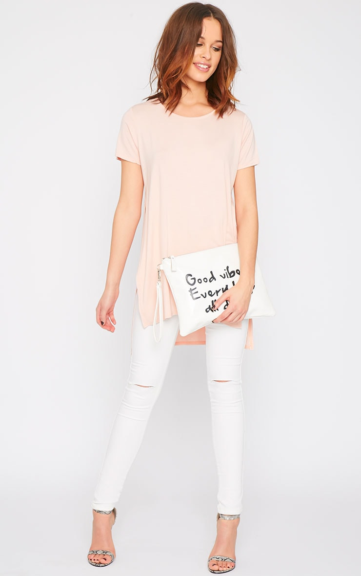 Basic Pink Side Split Drop Hem Tee-10 3