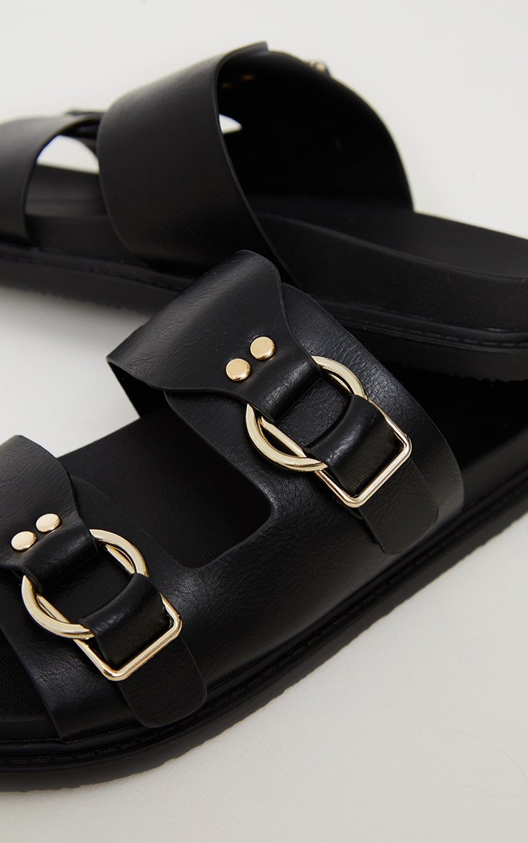 Black PU Buckle Trim Double Strap Chunky Dad Sandals 4