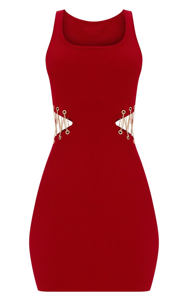 Red Chain Detail Knitred Mini Dress 3