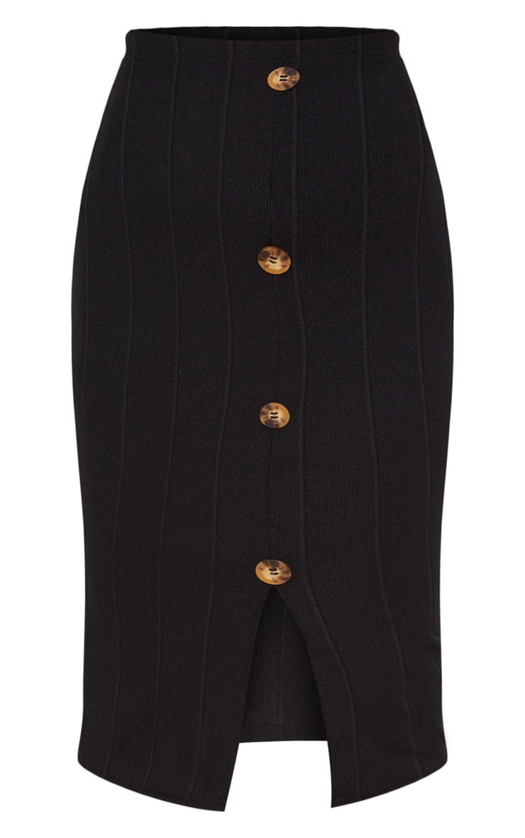 Petite Black Tortoise Button Midi Skirt 3