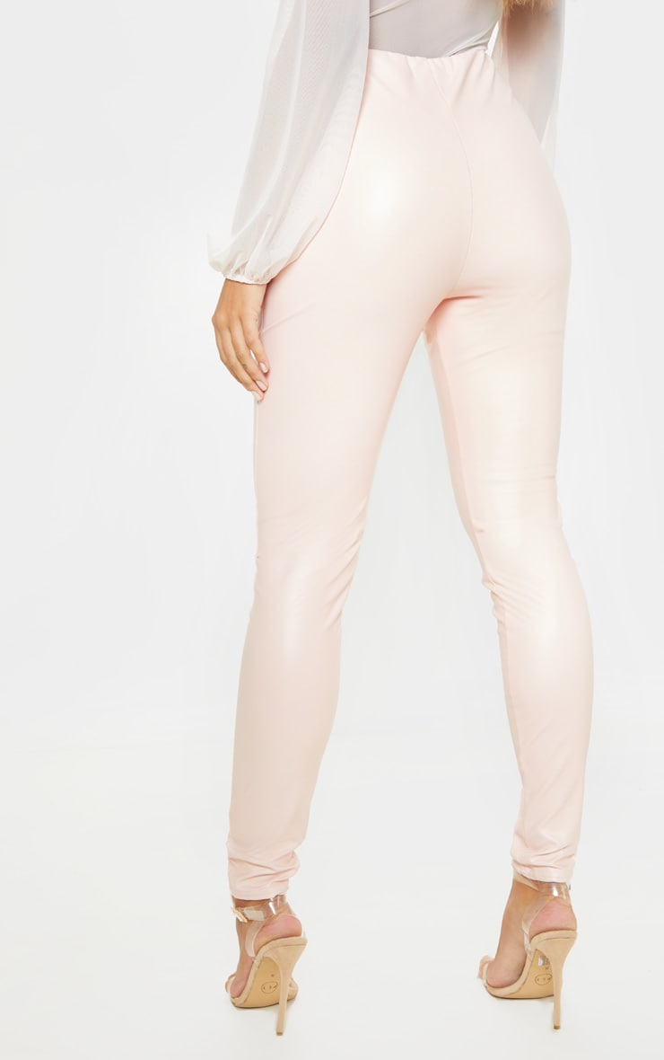 Baby Pink Faux Leather High Waisted Leggings  4