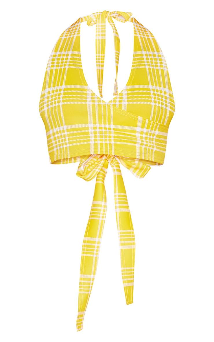 Yellow Check Print Plunge Tie Detail Crop Top 3