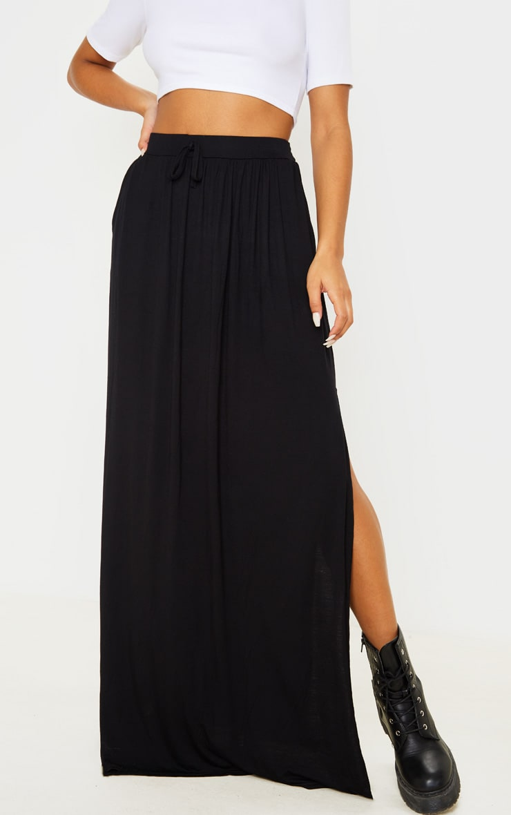 Black Jersey Drawstring Maxi Skirt 2