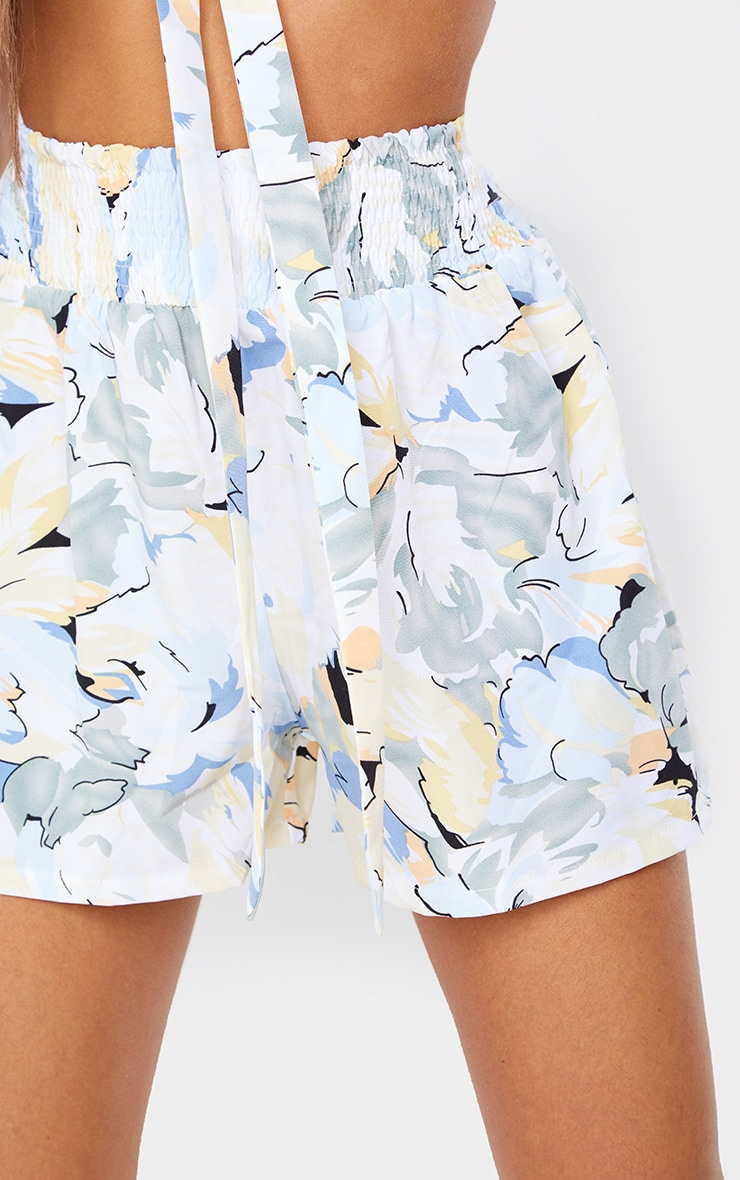 Blue Floral Printed Shirred Waist Floaty Shorts 5