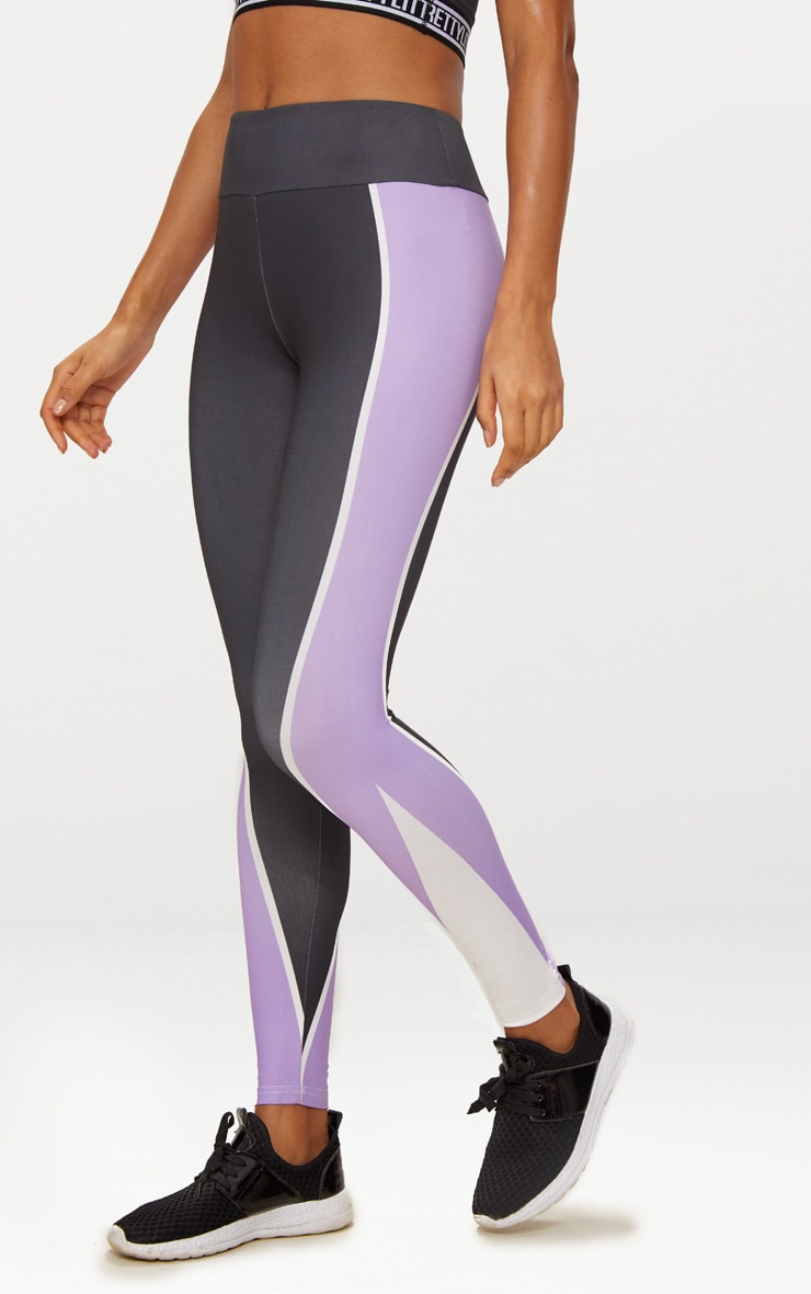 Charcoal Panelled Lilac Stripe Sports Leggings  2