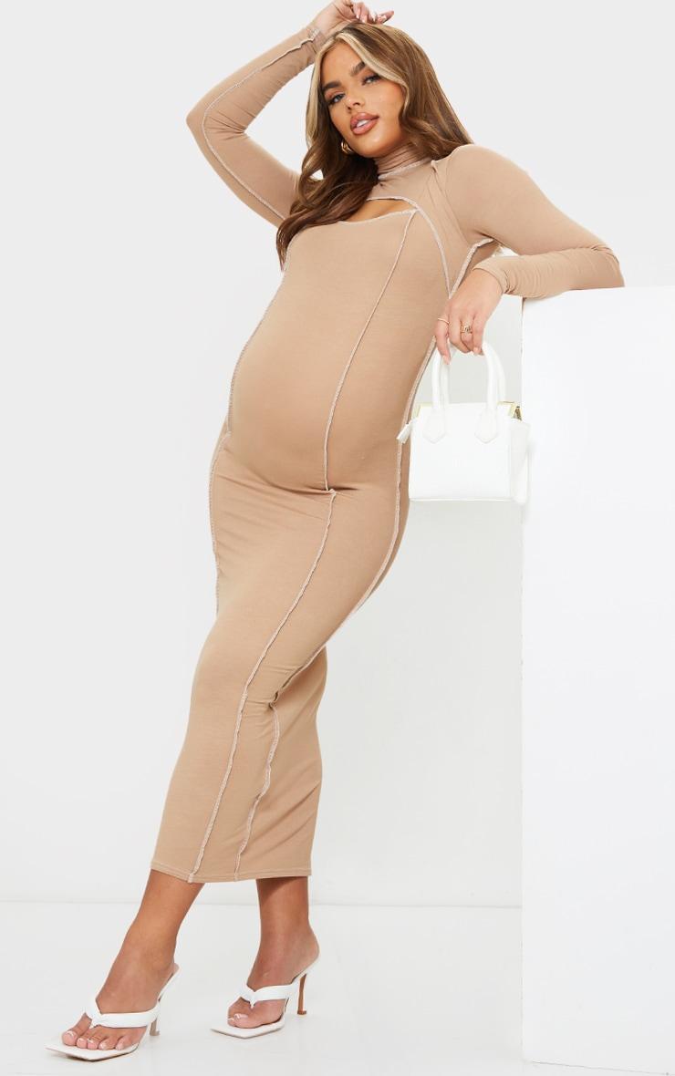 Maternity Camel Cut Out Midi Dress 1