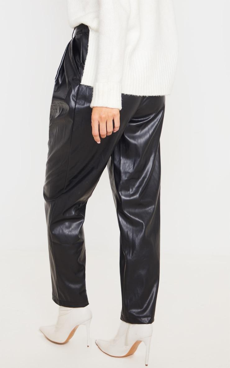 Black Faux Leather Pleat Cigarette Pants 4