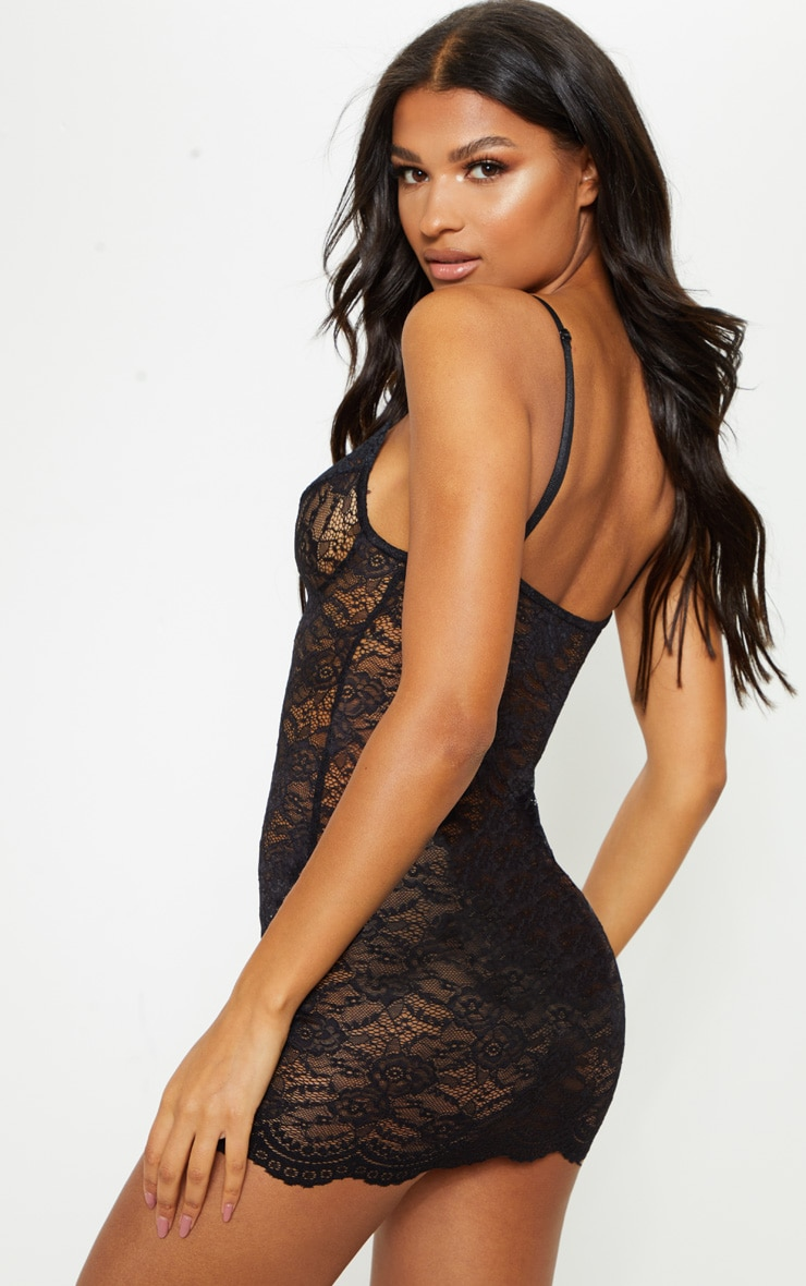Black Lingerie Lace Slip Dress 2