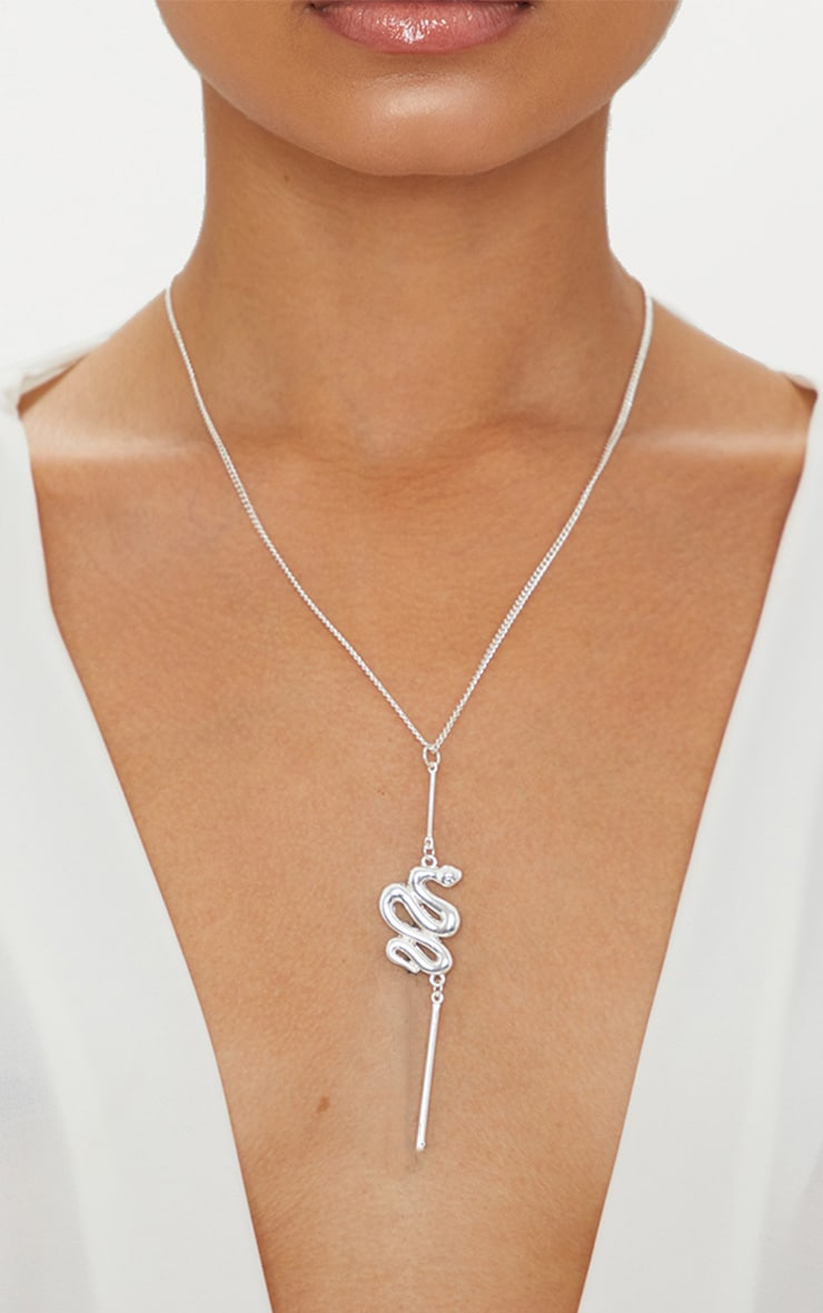 Silver Snake Pendant Necklace