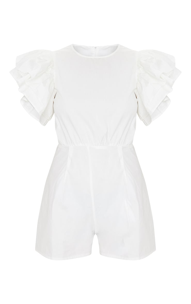 White Frill Sleeve Woven Playsuit 5