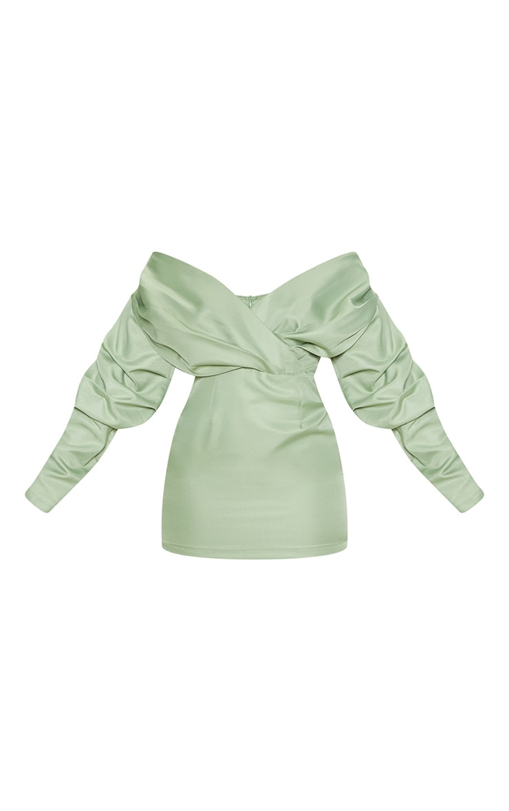 Sage Green Off The Shoulder Ruched Bodycon Dress 4