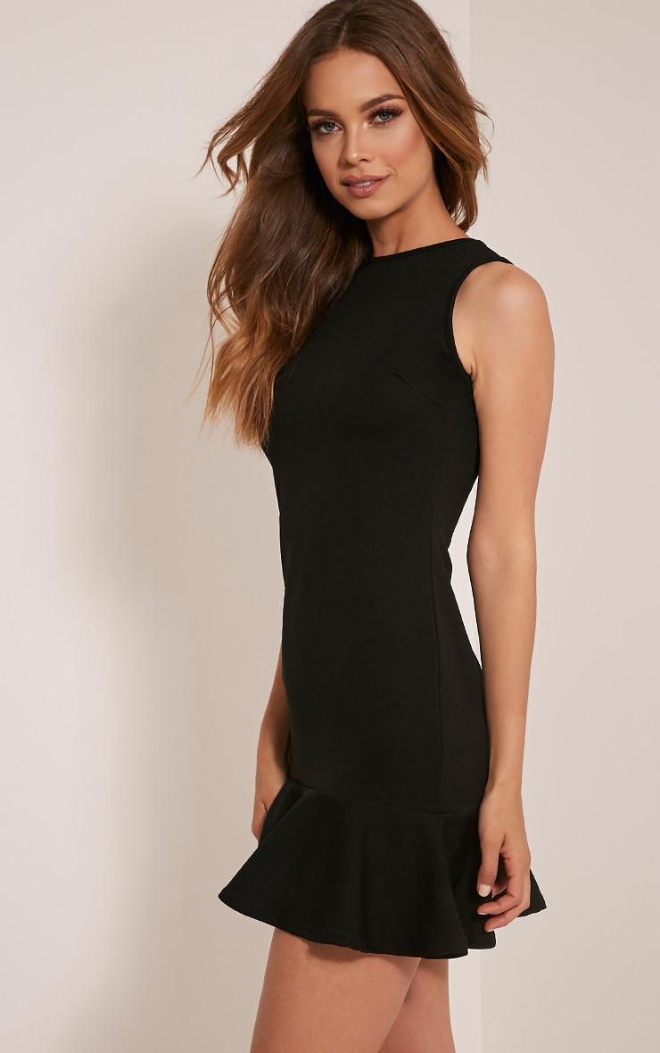 Amanie Black Drop Hem Bodycon Dress 5