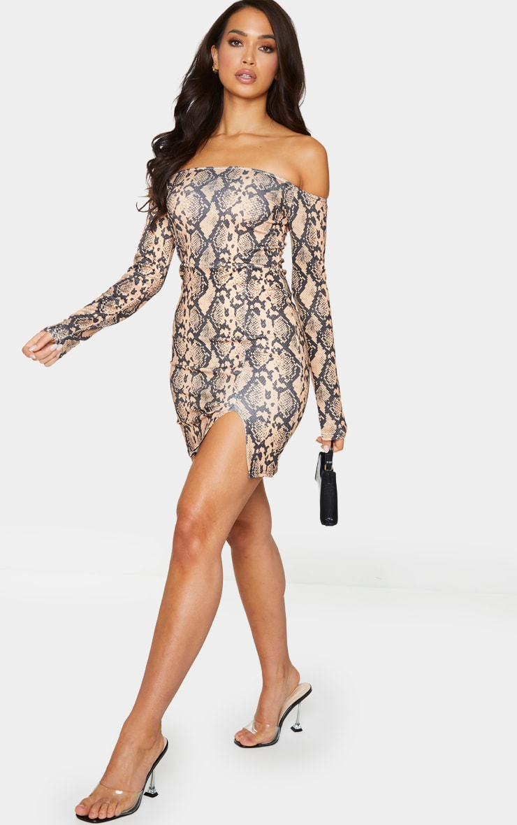 Brown Snake Print Bardot Split Hem Bodycon Dress 3