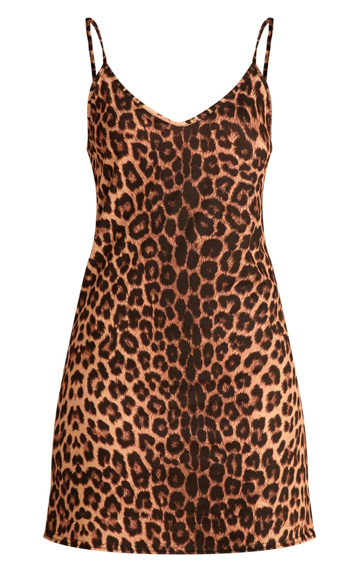 Brown Leopard Print Strappy Detail Swing Dress  3