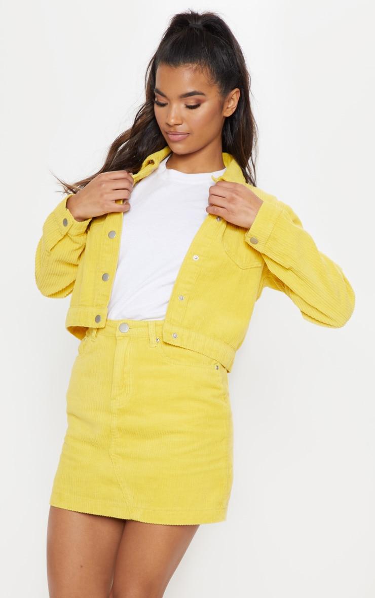 Yellow Jumbo Cord Skirt  by Prettylittlething