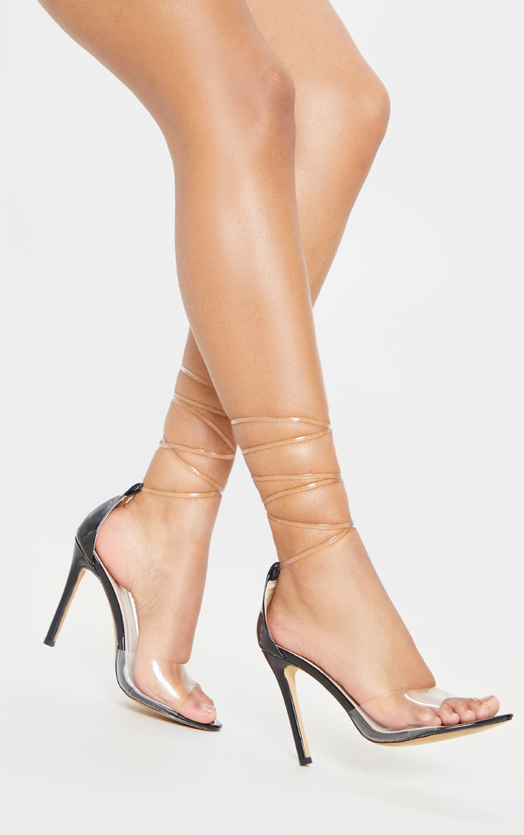 Sandales à talons noires à lacets transparents 2