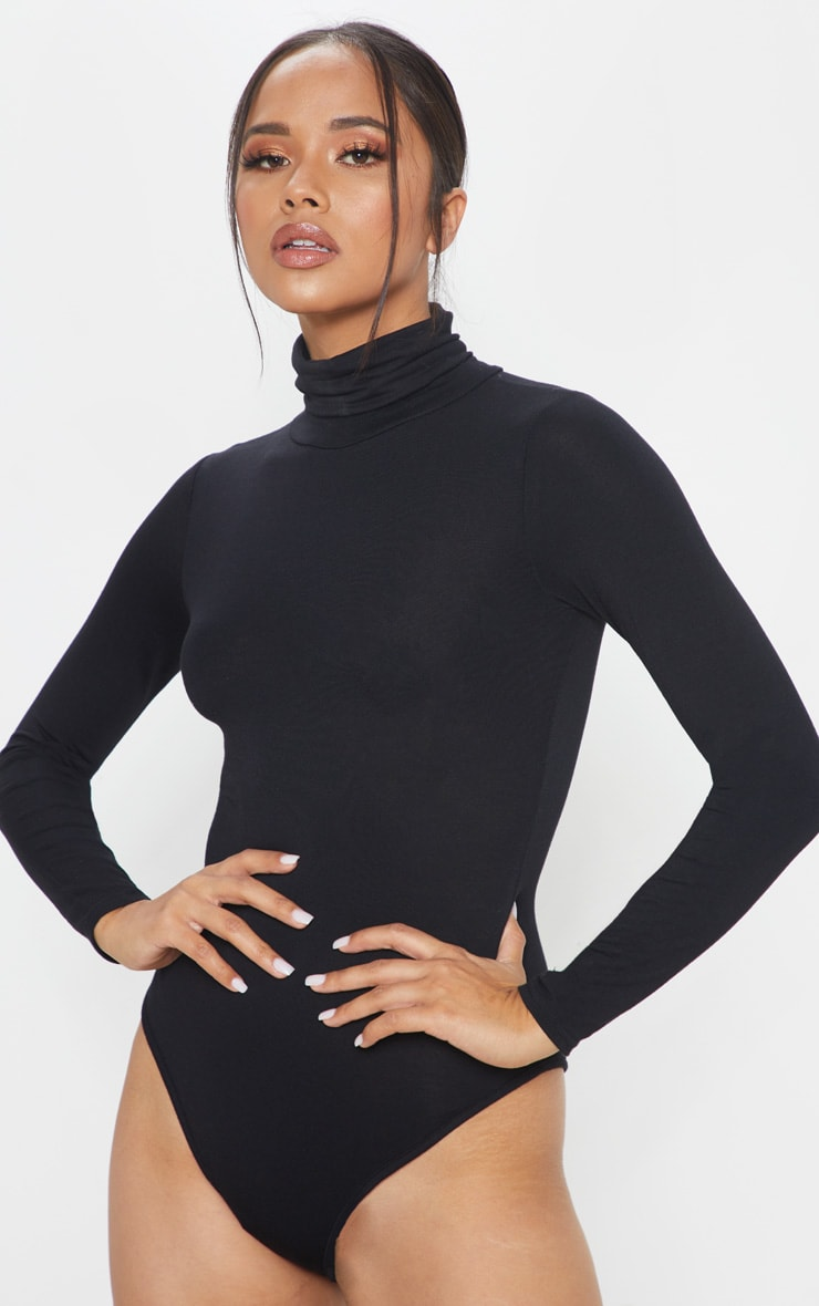 Basic Black & Red 2 Pack Roll Neck Long Sleeve Bodysuit 2