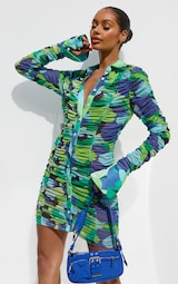 Green Abstract Print Mesh Ruched Oversized Cuff Shirt Dress 1