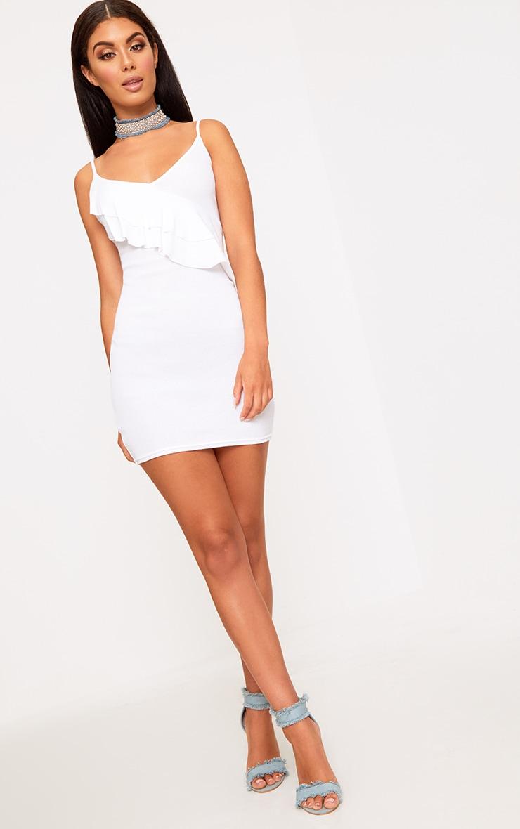 White Ruffle Front Bodycon Dress 3