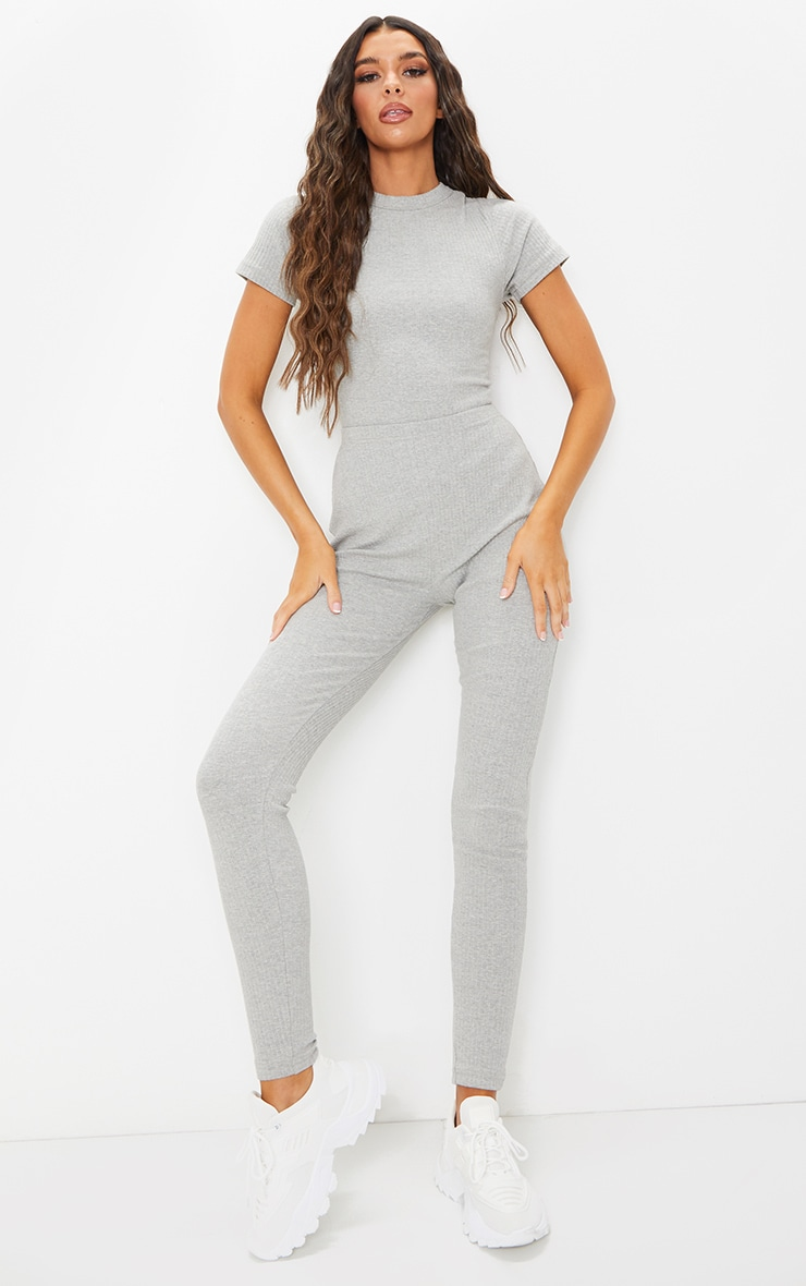 Grey Marl Thick Rib Lace Up Back Jumpsuit 3
