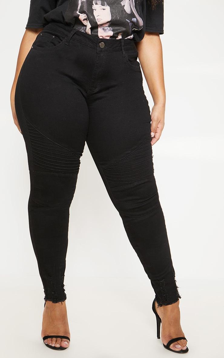Plus Black Biker Detail Skinny Jean  2