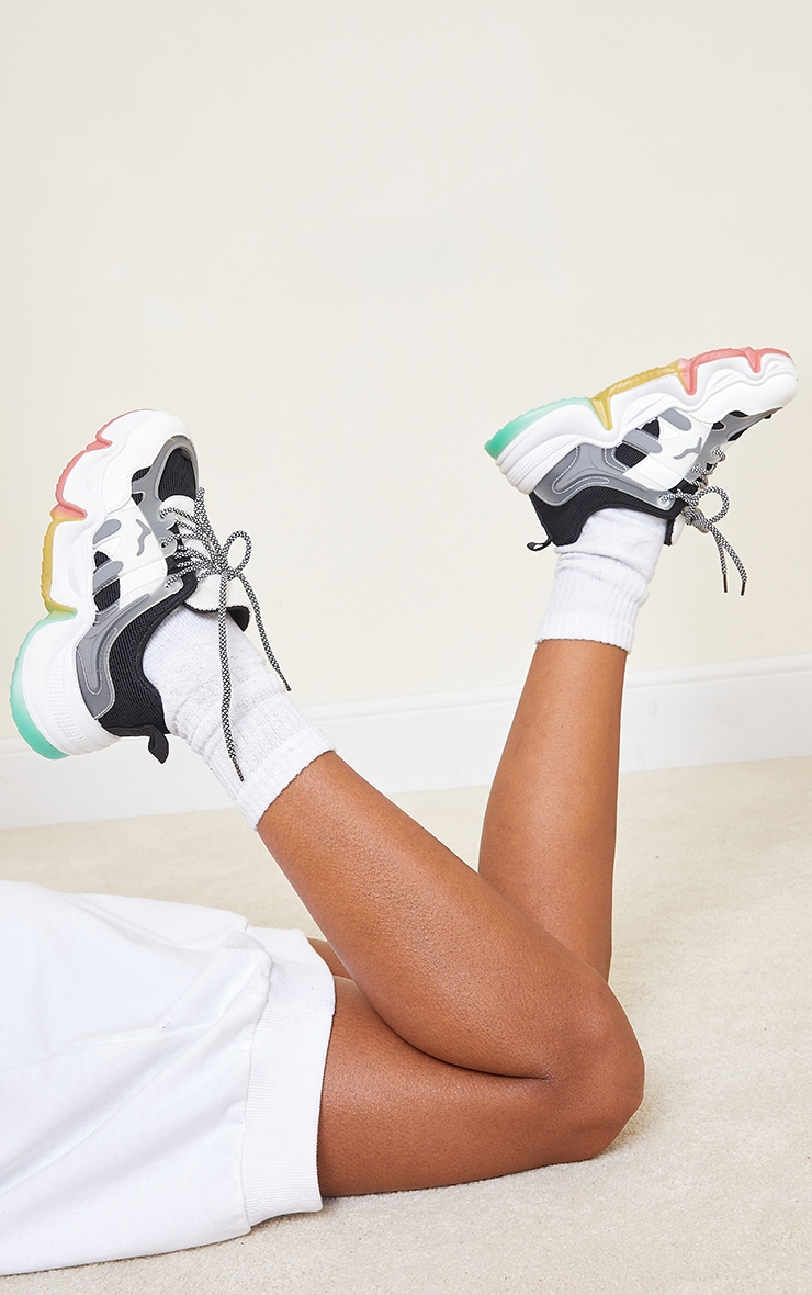 Black Chunky Multi Wave Sole Trainers 1