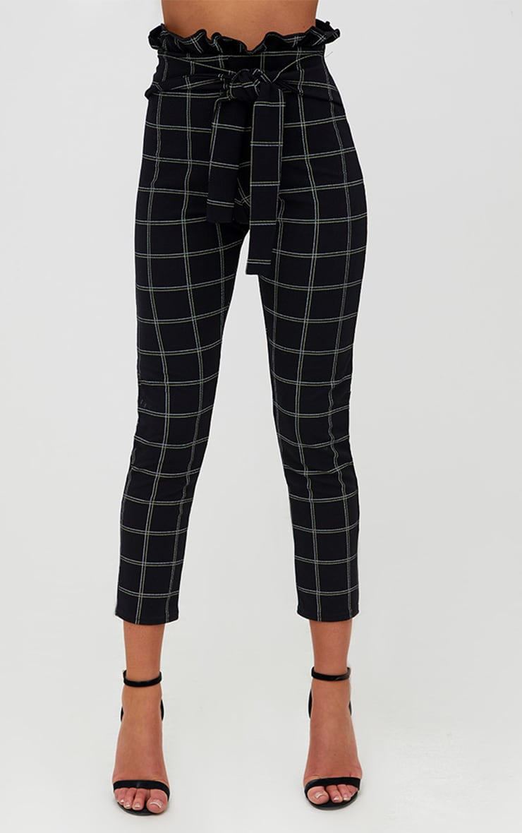 Black Tweed Check Paperbag Skinny Trousers 2
