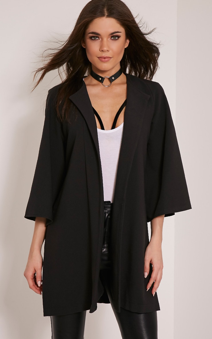Amba Black Flared Sleeve Crepe Cape Jacket 1