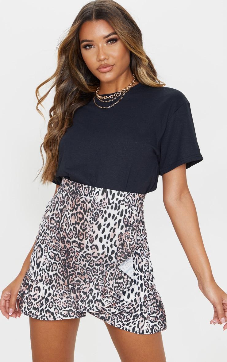 Leopard Print Frill Hem Wrap Mini Skirt 1