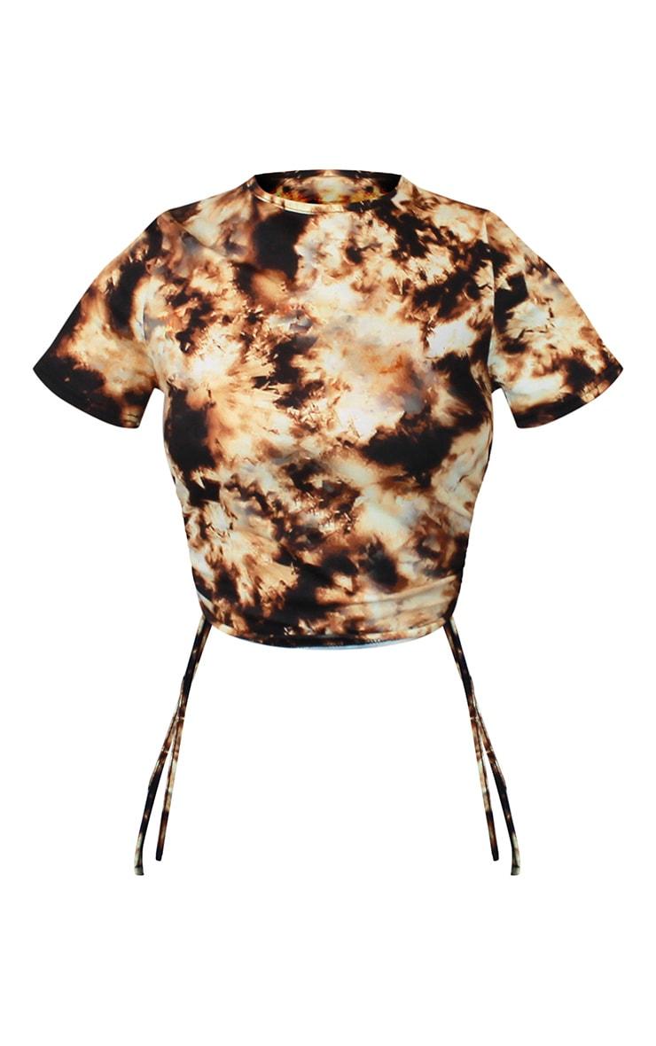 Black Acid Wash Ruched Side Crop T Shirt 5