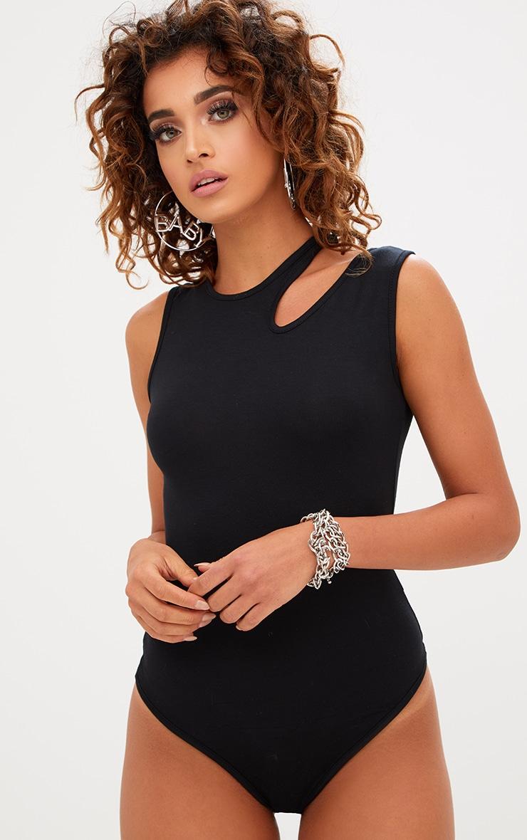 Basic Body-string en jersey noir à épaules découpées 1