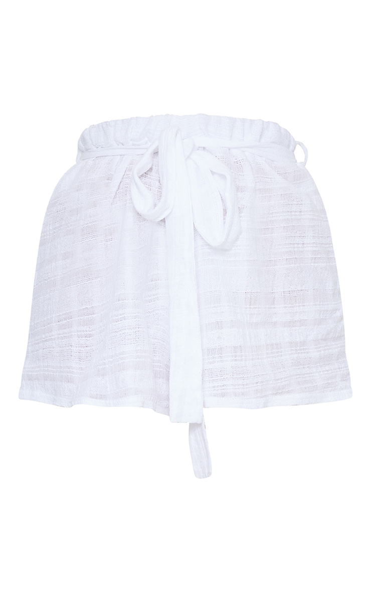White Tie Waist Textured Beach Shorts 5
